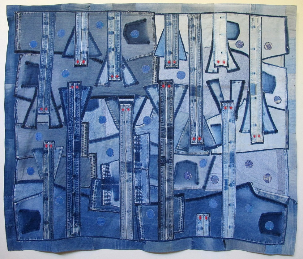 """Pandemic # 1, Denim Mined Series. 2020, 6'6"""" x 6'. Recycled denim and Indian quilted fabrics, applique, machine stitched. $5000"""