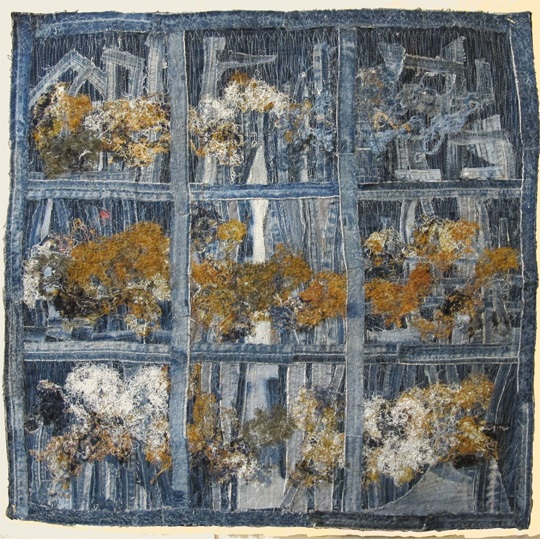 "Trees and Fog, Denim Mined Series. 2020, 29"" x 29"". Recycled denim and threads, machine stitched. $1000"